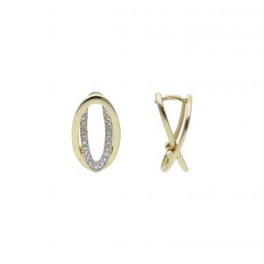 Pre-Owned 9ct Gold Fancy Cubic Zirconia Oval Drop Earrings
