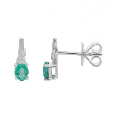New 9ct White Gold Emerald & Diamond Stud Earrings