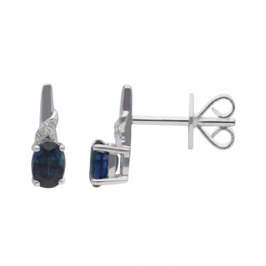 New 9ct White Gold Sapphire & Diamond Stud Earrings