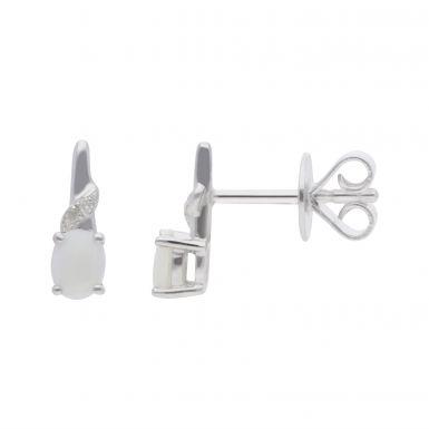 New 9ct White Gold Opal & Diamond Stud Earrings