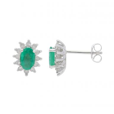 New 9ct White Gold Emerald & Diamond Oval Cluster Stud Earrings