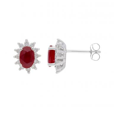 New 9ct White Gold Ruby & Diamond Oval Cluster Stud Earrings