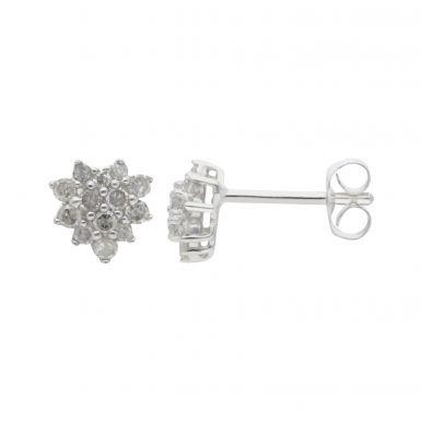 New 9ct White Gold 0.28ct Diamond Cluster Stud Earrings